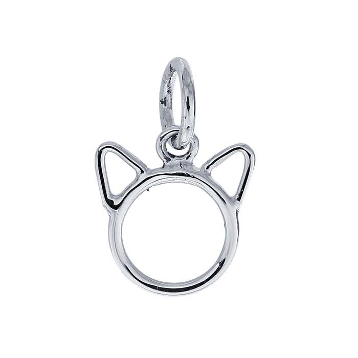 Sterling Silver Open Cat Face Charm