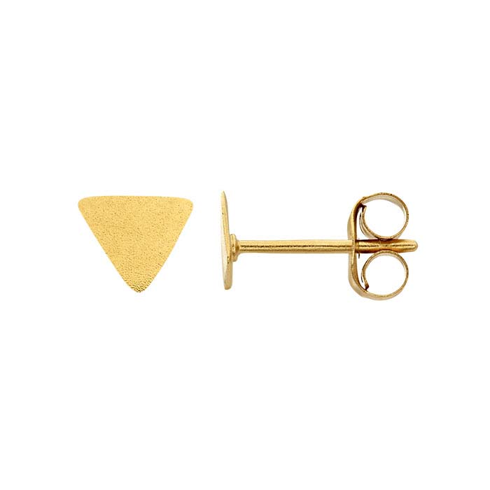 24K Heavy Yellow Gold-Plated Sterling Silver Triangle Post Earrings