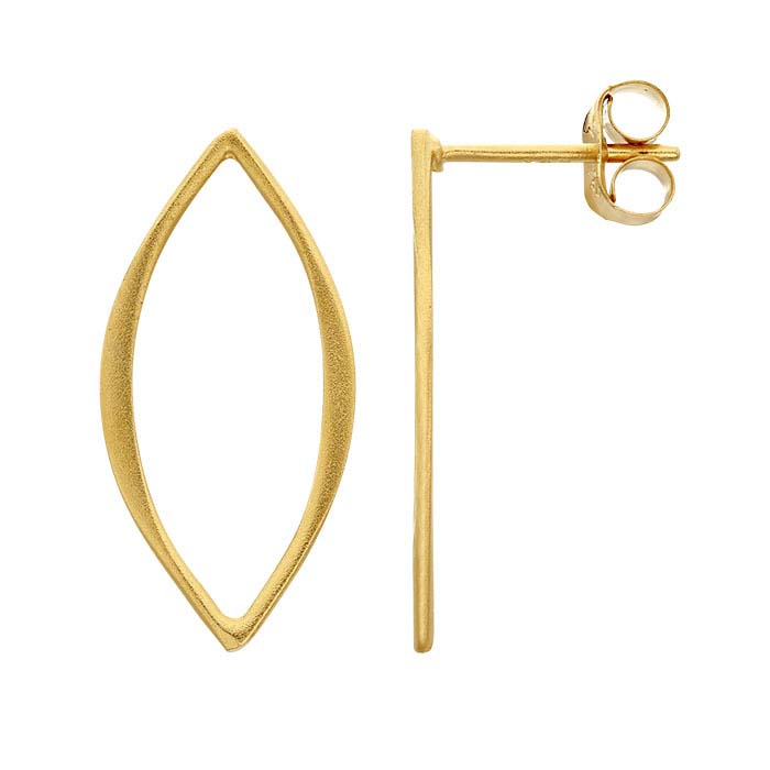 24K Heavy Yellow Gold-Plated Sterling Silver Open Marquise Post Earrings