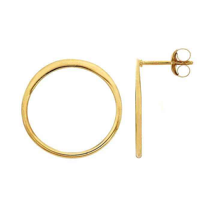 Sterling Silver Yellow Gold-Plated Open Circle Post Earring