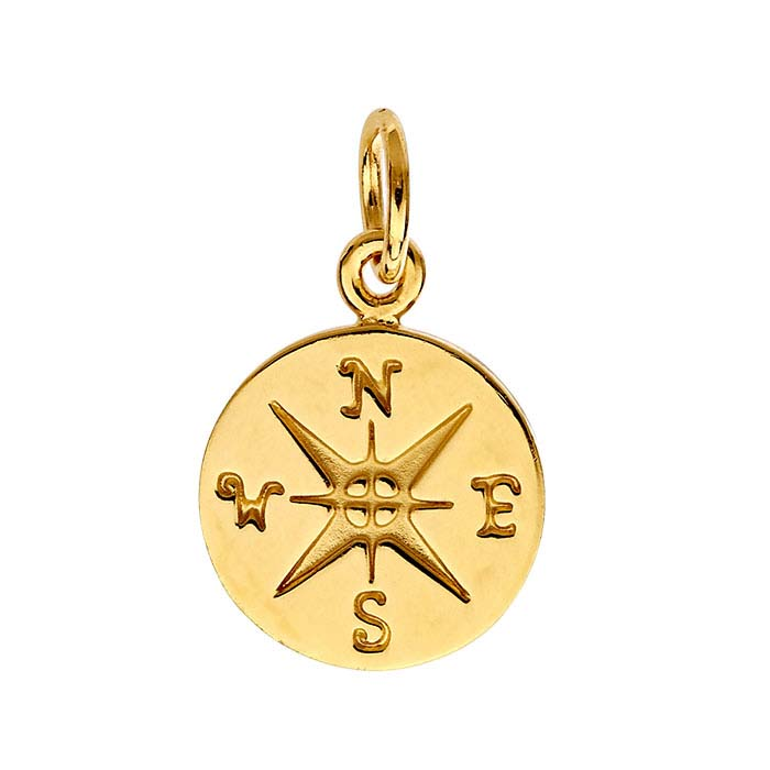 14K Heavy Yellow Gold-Plated Compass Rose Charm