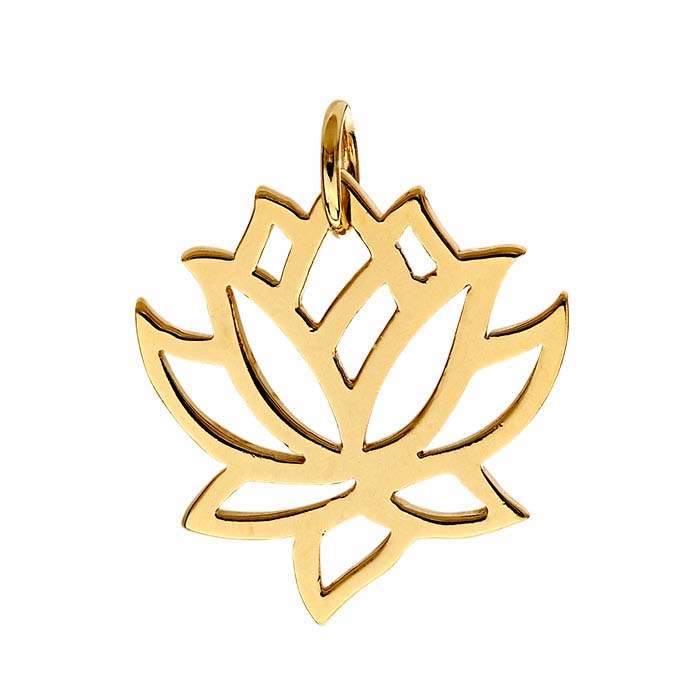 14K Heavy Yellow Gold-Plated Lotus Blossom Pendant