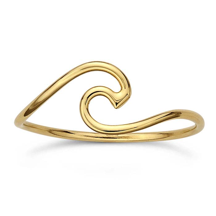 24K Heavy Yellow Gold-Plated Crested Wave Stackable Rings