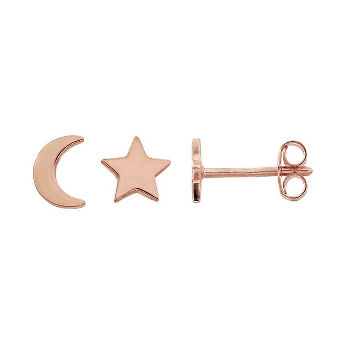 18K Heavy Rose Gold-Plated Sterling Silver Moon and Star Post Earrings