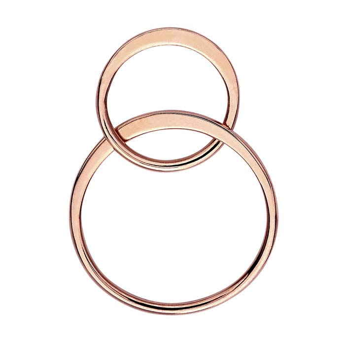 18K Heavy Rose Gold-Plated Sterling Silver Double-Circle Component