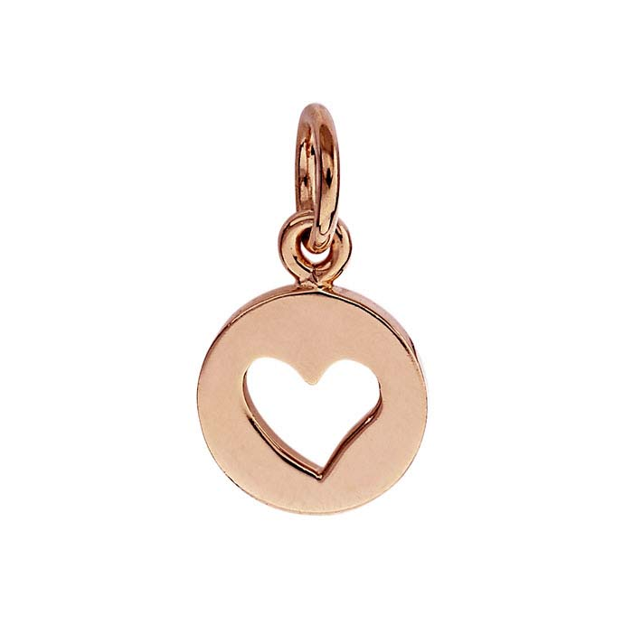 18K Heavy Rose Gold-Plated Heart Cut-Out Charm