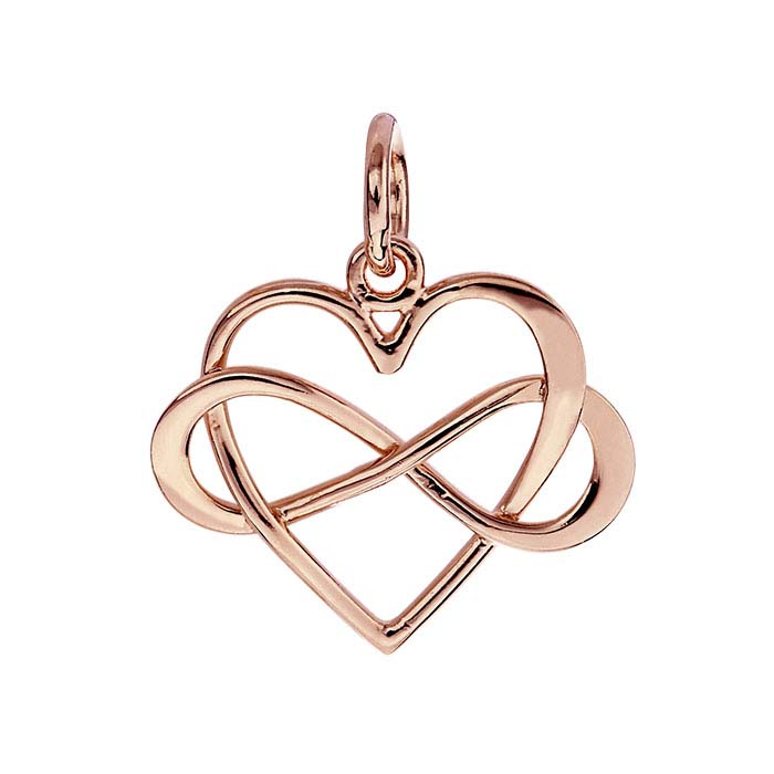18K Heavy Rose Gold-Plated Sterling Silver Intertwined Heart & Infinity Link Charm