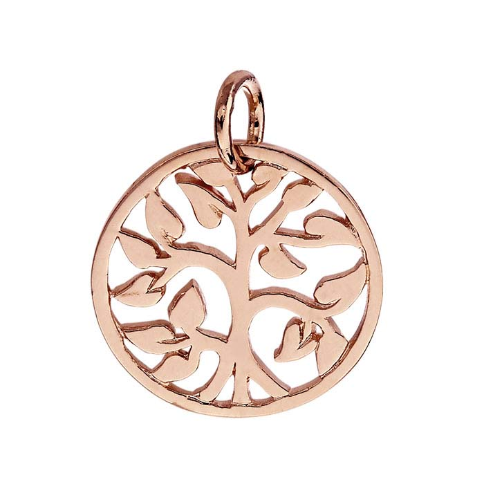 "18K Heavy Rose Gold-Plated Sterling Silver ""Tree of Life"" Charm"