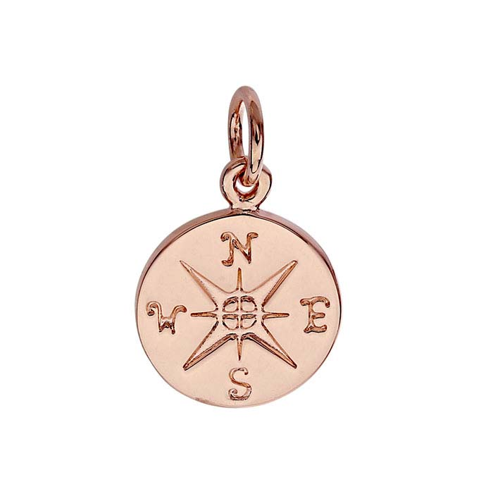 18K Heavy Rose Gold-Plated Sterling Silver Compass Rose Charm