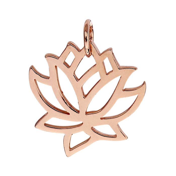 18K Heavy Rose Gold-Plated Sterling Silver Lotus Blossom Pendant