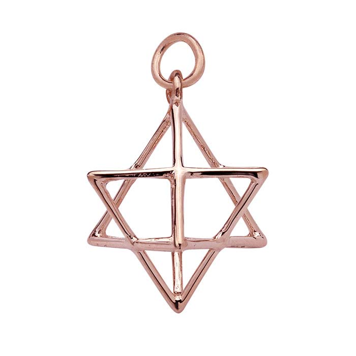 Sterling Silver Rose Gold-Plated 3D Merkaba Pendant