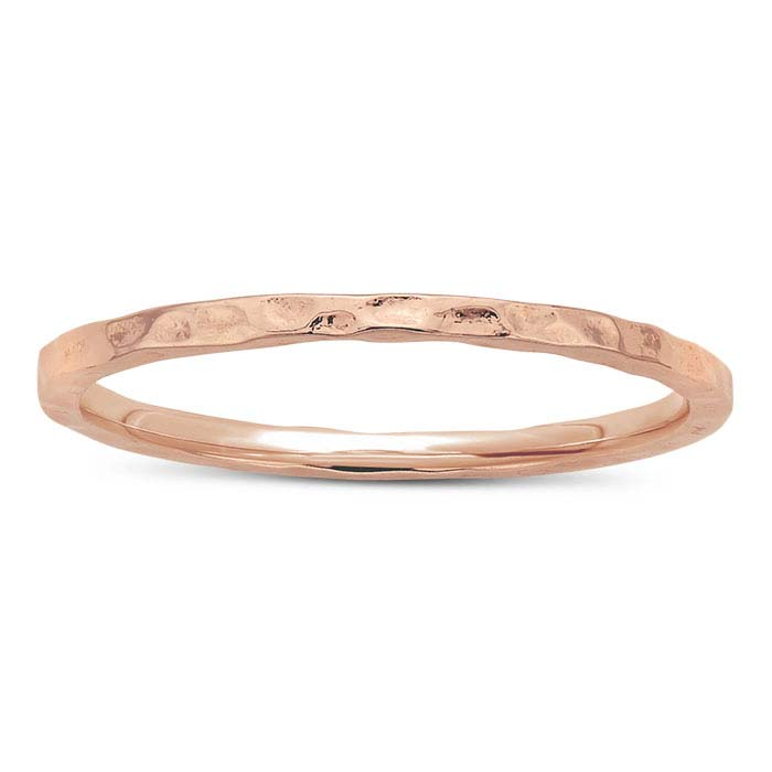 Sterling Silver Rose Gold-Plated Hammered Rings