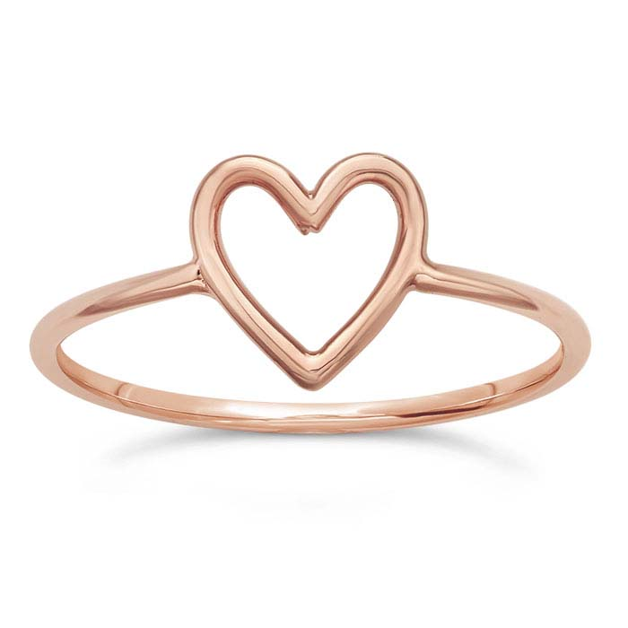 18K Heavy Rose Gold-Plated Sterling Silver Open Heart Rings