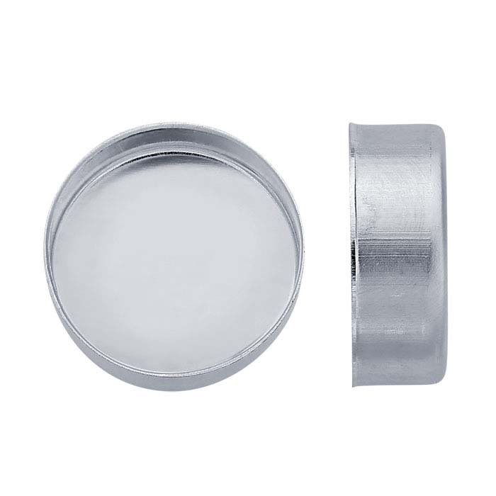 Sterling Silver Round High-Wall Bezel Cup Settings