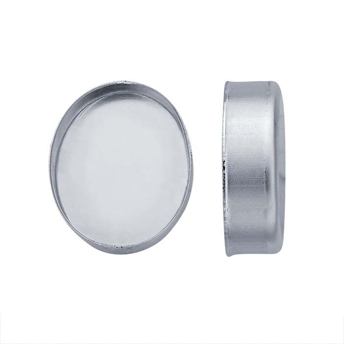 Sterling Silver Oval High-Wall Bezel Cup Settings