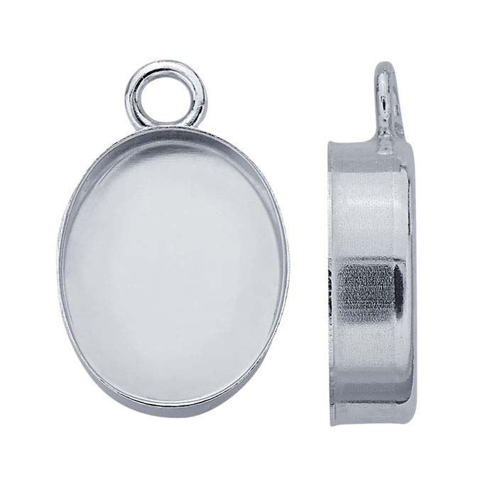 Sterling Silver Oval High-Wall Cabochon Pendant Mountings