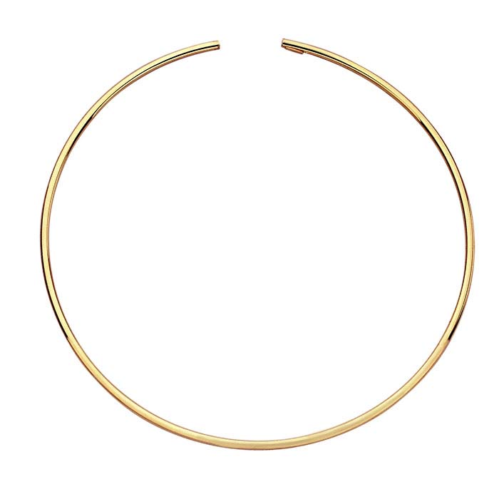 Sterling Silver Yellow Gold-Plated 3mm Flex Tube Neck Ring