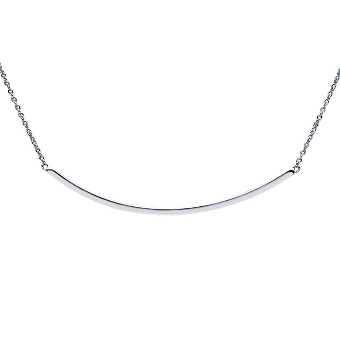 Sterling Silver Rhodium-Plated Curved Bar Festoon Necklace