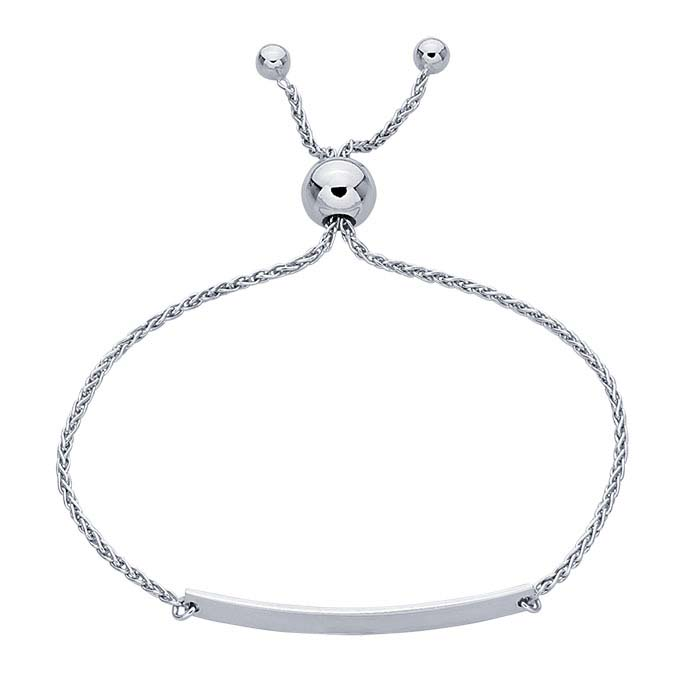 Sterling Silver Rhodium-Plated I.D. Bracelet, Adjustable