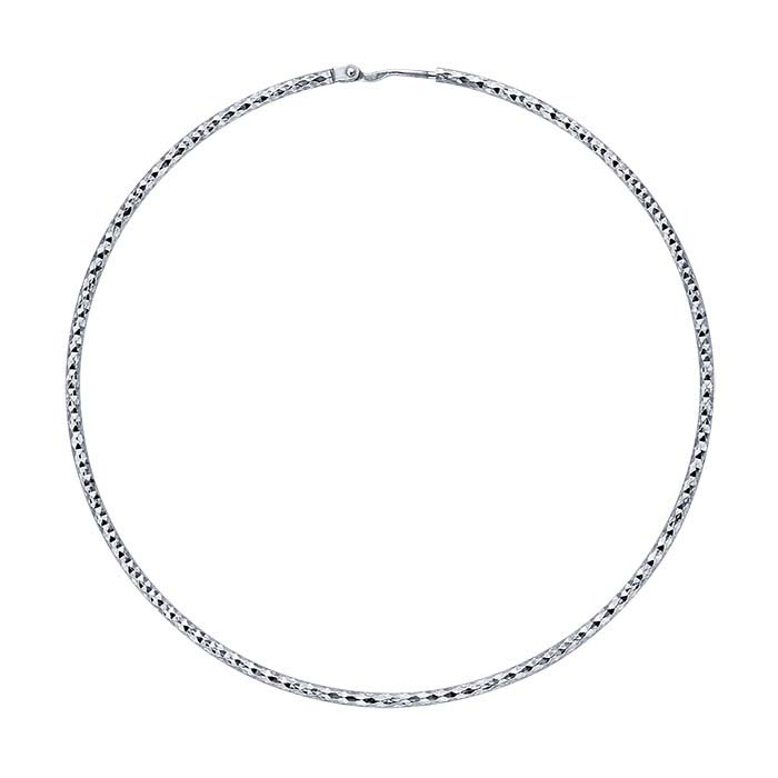 Sterling Silver Rhodium-Plated Diamond-Cut 1.5 x 60mm Endless Hoop Earring