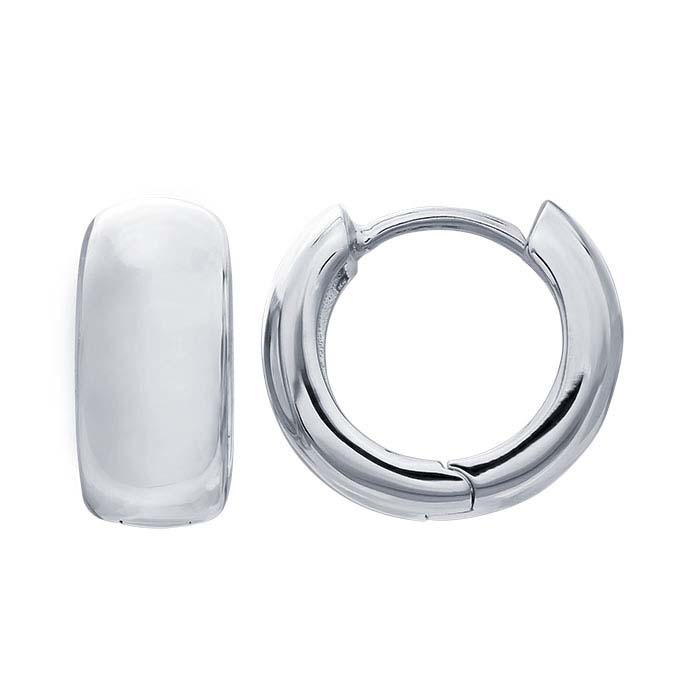 Sterling Silver Rhodium-Plated Hoop Earrings