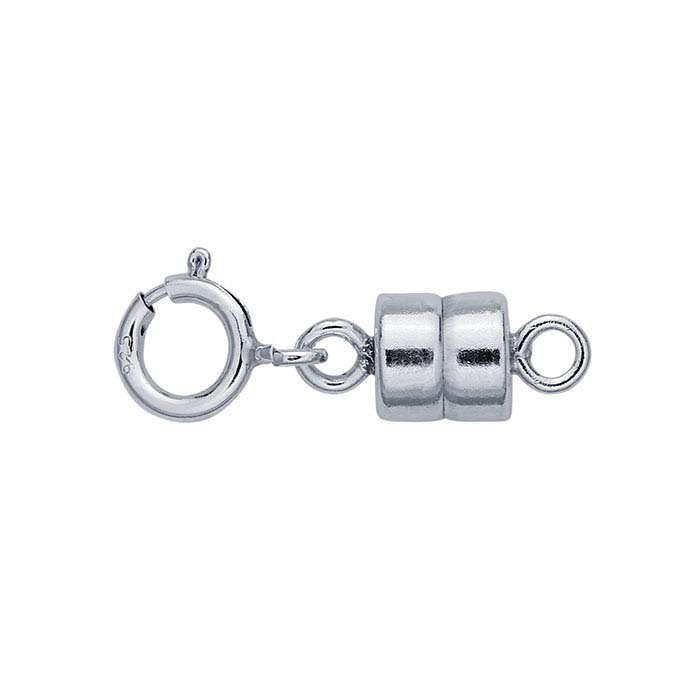Sterling Silver Magnetic Clasp Converter with Spring Ring
