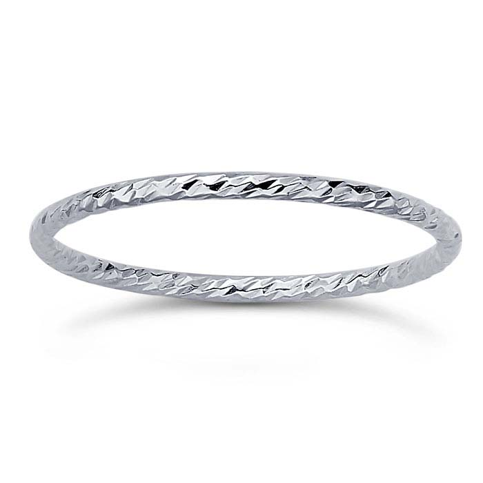 Sterling Silver Sparkle-Wire Stackable Rings