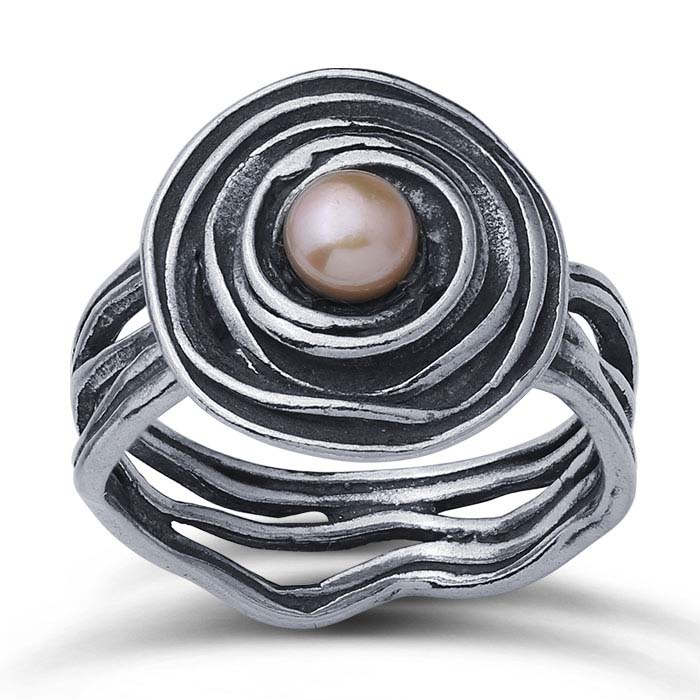 Sterling Silver Nest Rings with 5mm Pink Freshwater Pearl