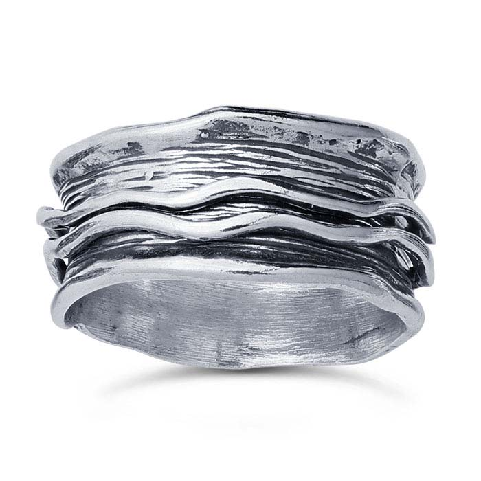 Sterling Silver Two-Row Wavy Spinner Bands
