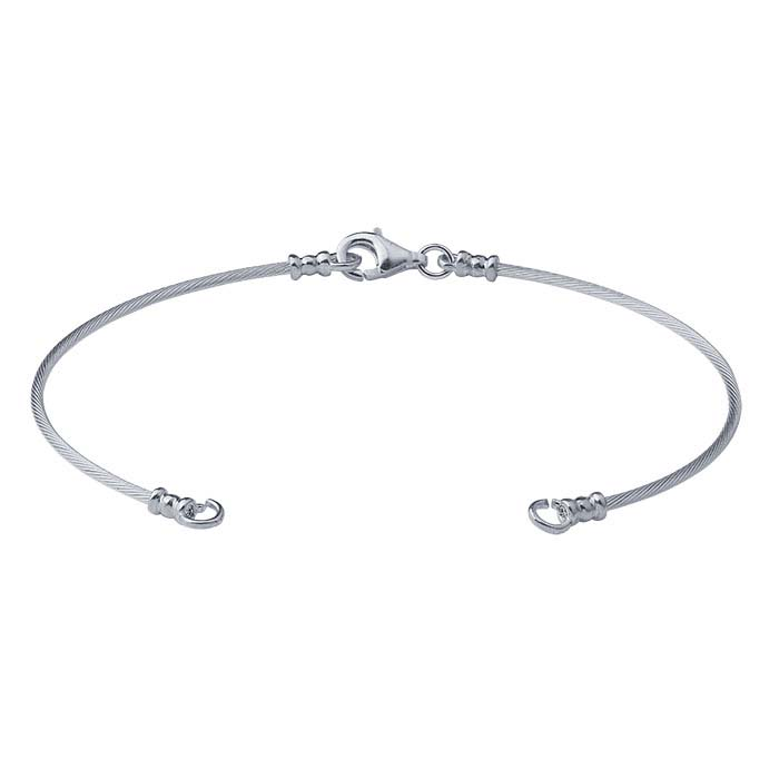 Sterling Silver Handcrafted Cable Wire Bangle Bracelet Component