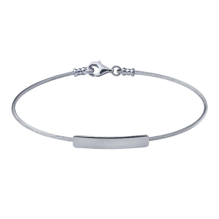 Sterling Silver Cable Wire Bracelet with Rectangle Plaque