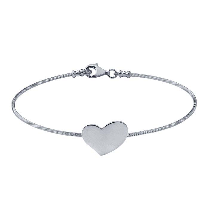 Sterling Silver Cable Wire Bracelet with Heart Plaque