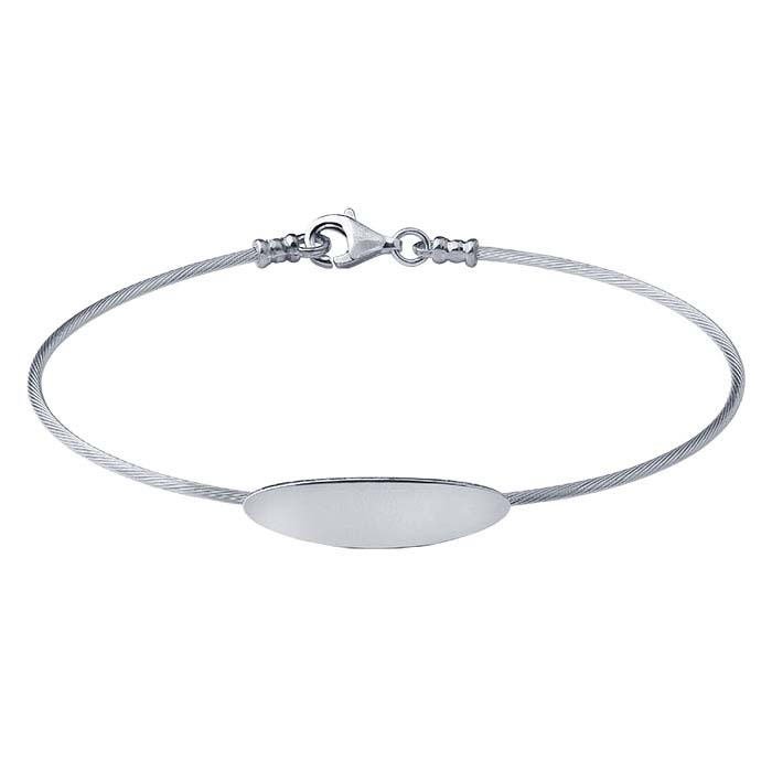 Sterling Silver Cable Wire Bracelet with Oval Plaque