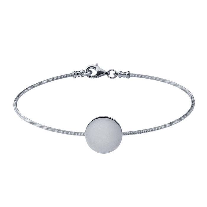 Sterling Silver Cable Wire Bracelet with Round Plaque