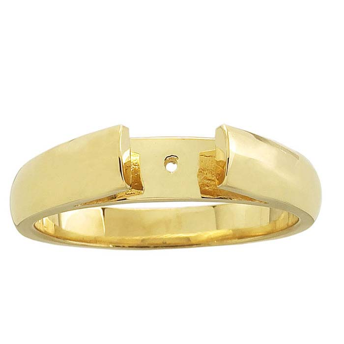 14K Yellow Gold Heavyweight Flat End Half-Round Cathedral Ring Shank
