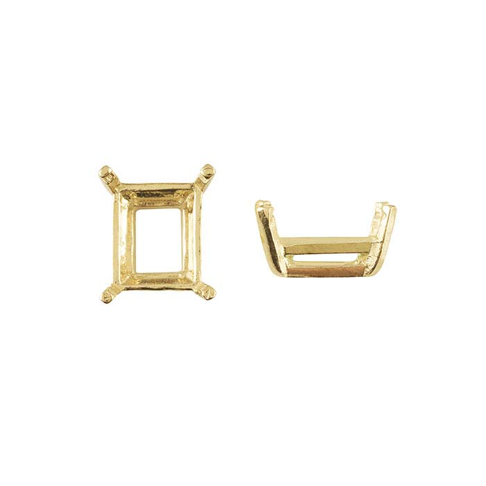 14K Yellow Gold Octagon Pre-Notched Legendary™ 4-Prong Settings