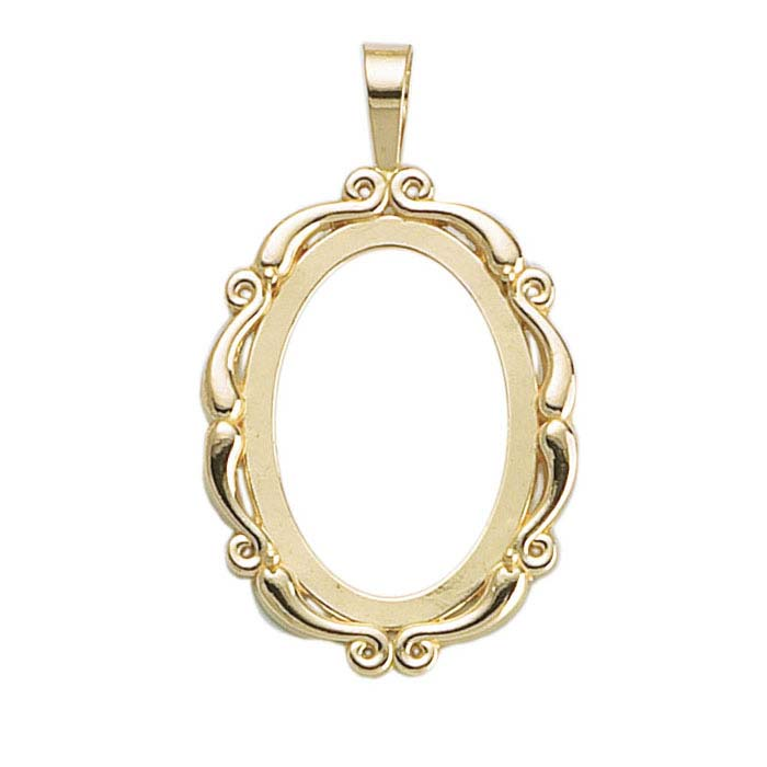 14K Yellow Gold Legendary Cameo or Cabochon Pendant Frame Mountings