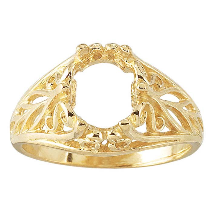 14K Yellow Gold 8 x 6mm Ornate Oval Ring Mounting