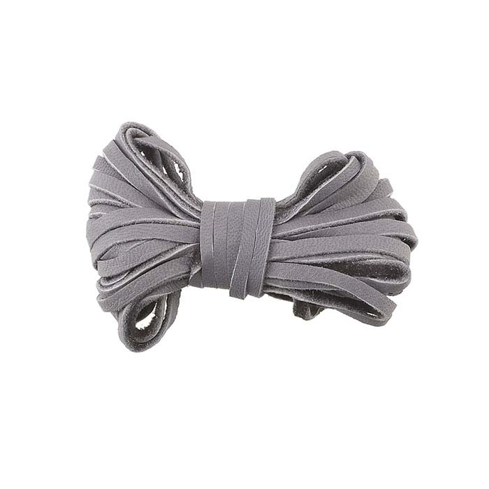 Gray Deer Hide Leather 3mm Flat Cord, 12 ft.