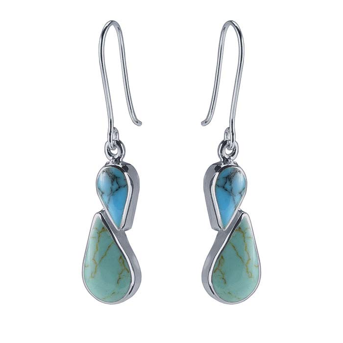 Sterling Silver Turquoise-Set Earrings