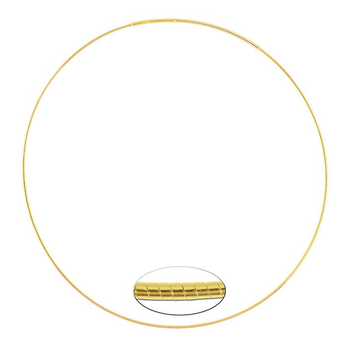 Sterling Silver Yellow Gold-Plated Round Omega Neck Chains