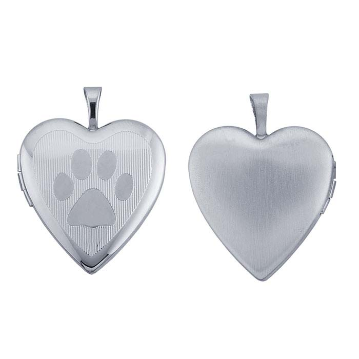 pendant heart locket paw lockets silver print sterling product