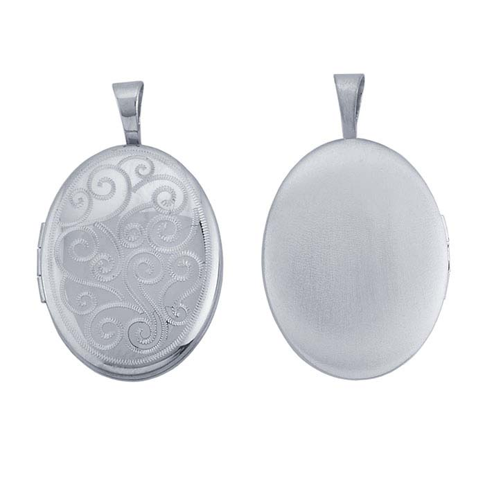 Sterling Silver Oval Engraved Scroll Locket Pendant