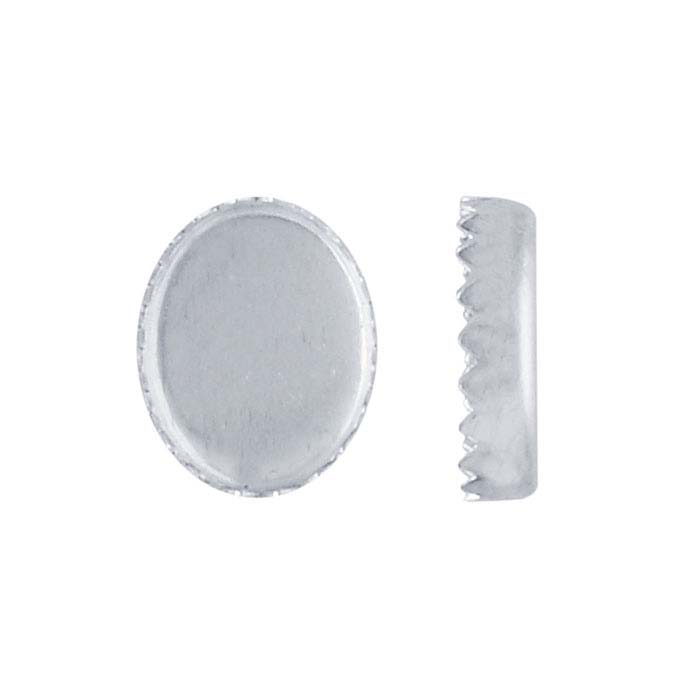 Sterling Silver Oval Serrated-Edge Bezel Cup Settings