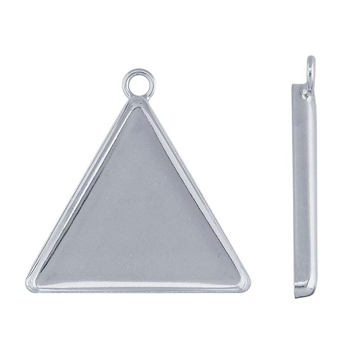 Sterling Silver 22mm Triangle Resin Component Mounting