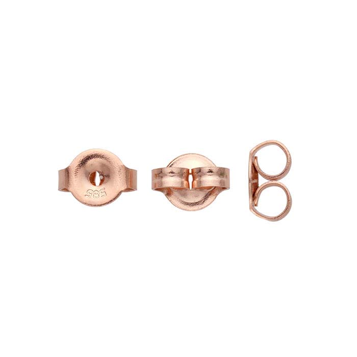 14K Rose Gold 6mm Friction Ear Nut