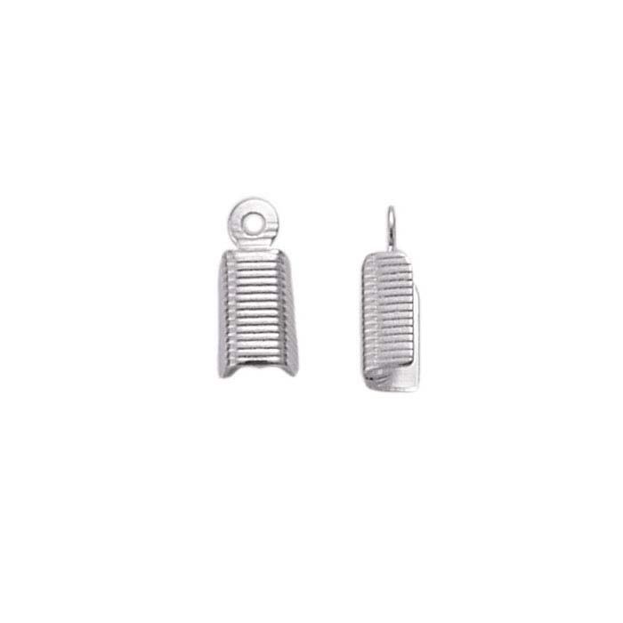 Base Metal White-Finish Fold-Over Cord End Cap