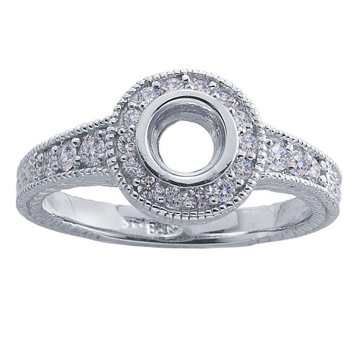 14K White Gold .40-Ct. Round Semi-Mount Engagement Ring Mounting