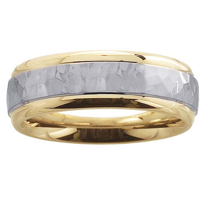 14K Yellow Gold 6mm Hammered Wedding Band with 14K White Gold Center