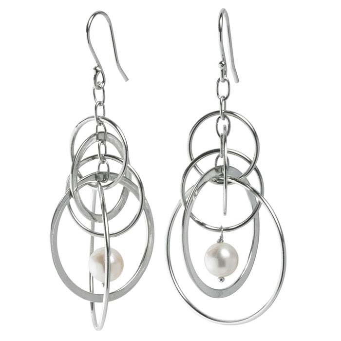"""With A Twist"" Sterling Silver Ear Wires with Circle Dangles and Pearl Drop"